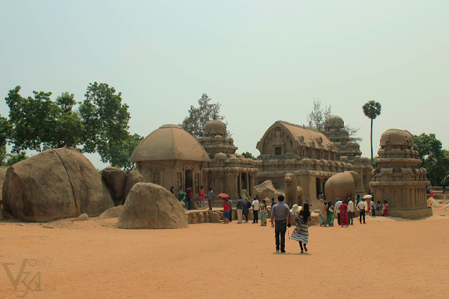 The Five Rathas starting from the left in the pic is Draupadi Ratha, Arjuna Ratha, Bhima Ratha, Dharmaraja Ratha and Nakula Sahadeva Ratha, along with the sculptures of Lion and elephant