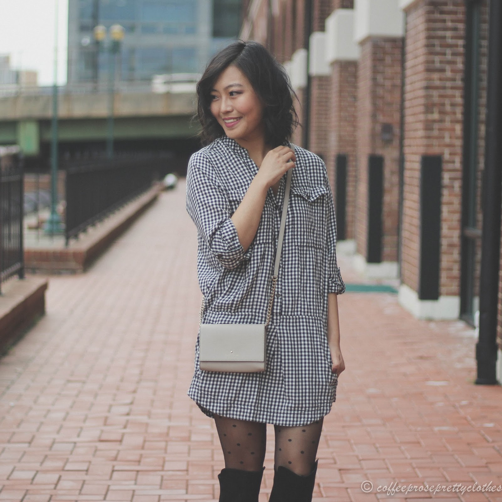 Kate Spade bag, Gap Polka Dot tights, Over the knee boots, flannel shirtdress