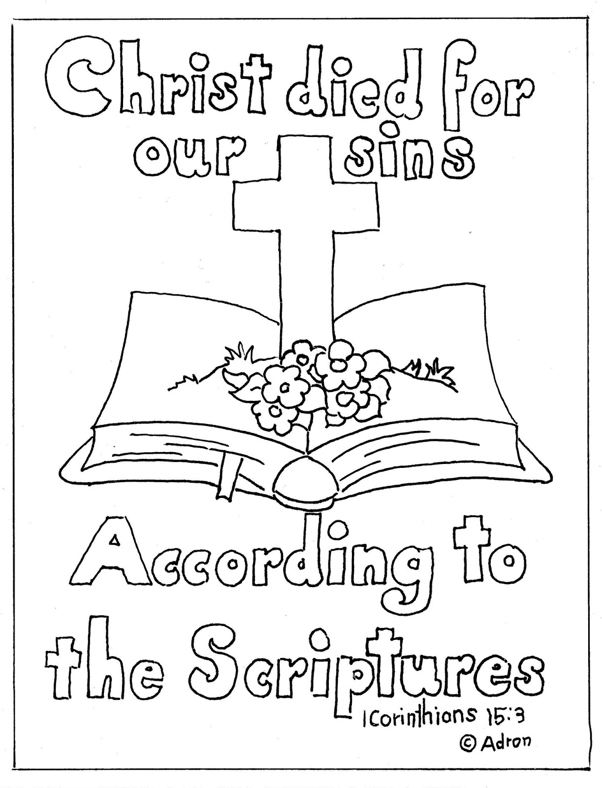 coloring pages for kids by mr adron bible and cross print and