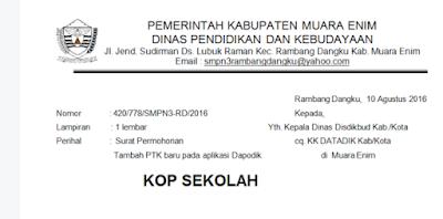 Surat Permintaan tambah PTK Baru di Dapodik 2018
