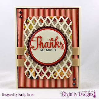 Stamp/Die Duos: Thanks for Everything, Custom Dies: Lattice Background, Circles, Pierced Circles, Scalloped Circles, Pierced Rectangles, Rounded Rectangles, Paper Collections: Follow the Son, Fall Favorites
