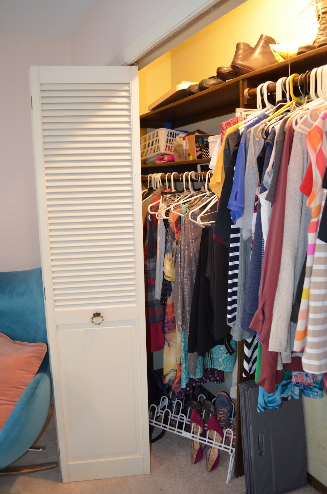 The End Result Is That I Only Use About 4 Ft Of My Closet. You Can See The  Mess In The Area I Canu0027t Reach. Thatu0027s Where Clothes, Etc Go To Die.