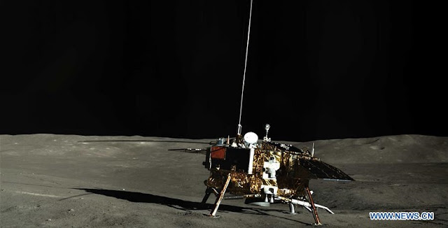 Panoramic photo shows the lander of the Chang'e-4 probe. The lander and the rover of the Chang'e-4 probe have been switched to dormant mode for the lunar night after working stably during the past lunar day, the China National Space Administration (CNSA) announced Wednesday. (Xinhua/China National Space Administration)