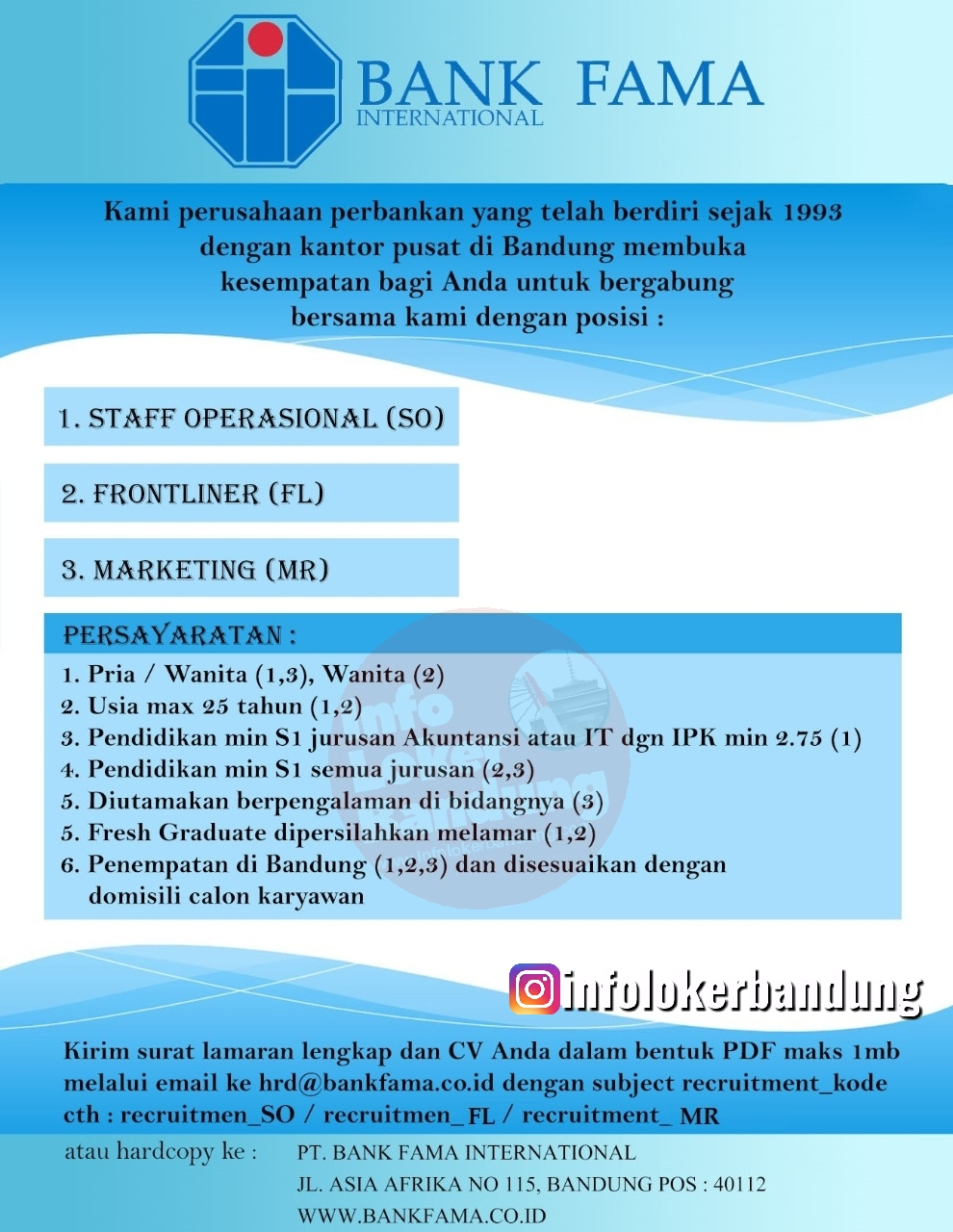 Lowongan Kerja PT. Bank Fama International Bandung Januari 2020