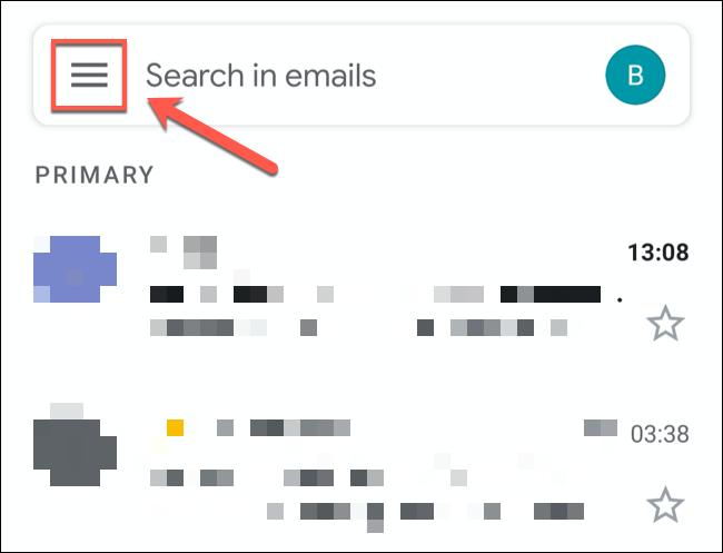 اضغط على أيقونة قائمة الهامبرغر في أعلى يسار تطبيق Gmail.