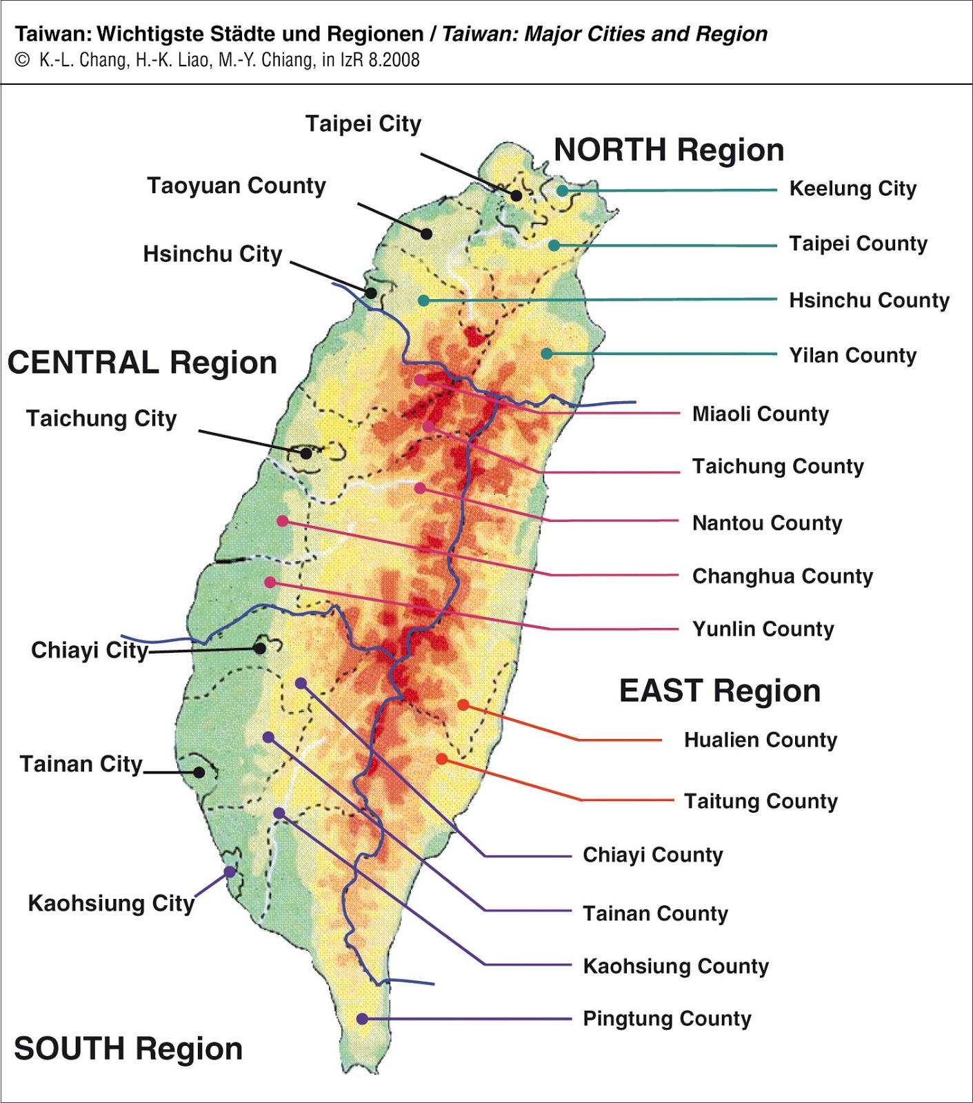 Mapas Geográficos de Taiwan (Formosa)