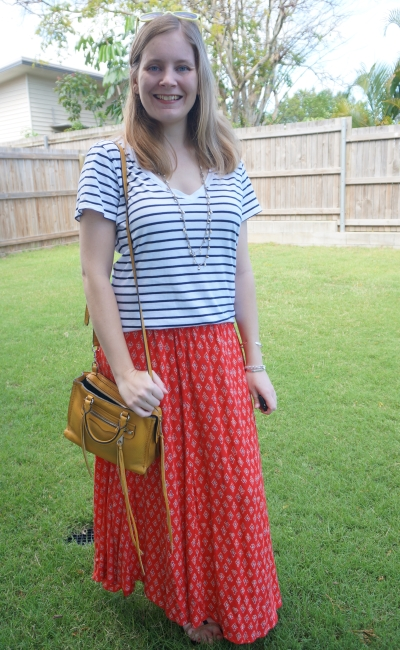 red boho billabong printed maxi skirt with stripe cotton on tee mustard yellow bag spring outfit | awayfromblue