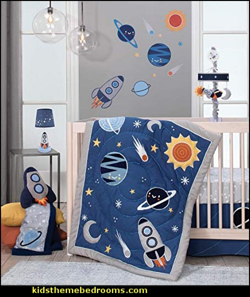 Milky Way Space Galaxy 4-Piece Baby Nursery Crib Bedding Set  decorate the kids bedroom in space themed style  space themed bedroom stickers  Kids Outer space decor