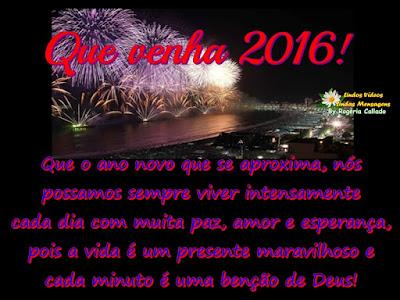 Que o ano novo que se aproxima, nos possamos sempre viver intensamente cada dia com muita  paz, amor e esperança, pois a vida é um presente maravilhoso e cada minuto é uma benção de Deus!  Feliz Ano Novo!