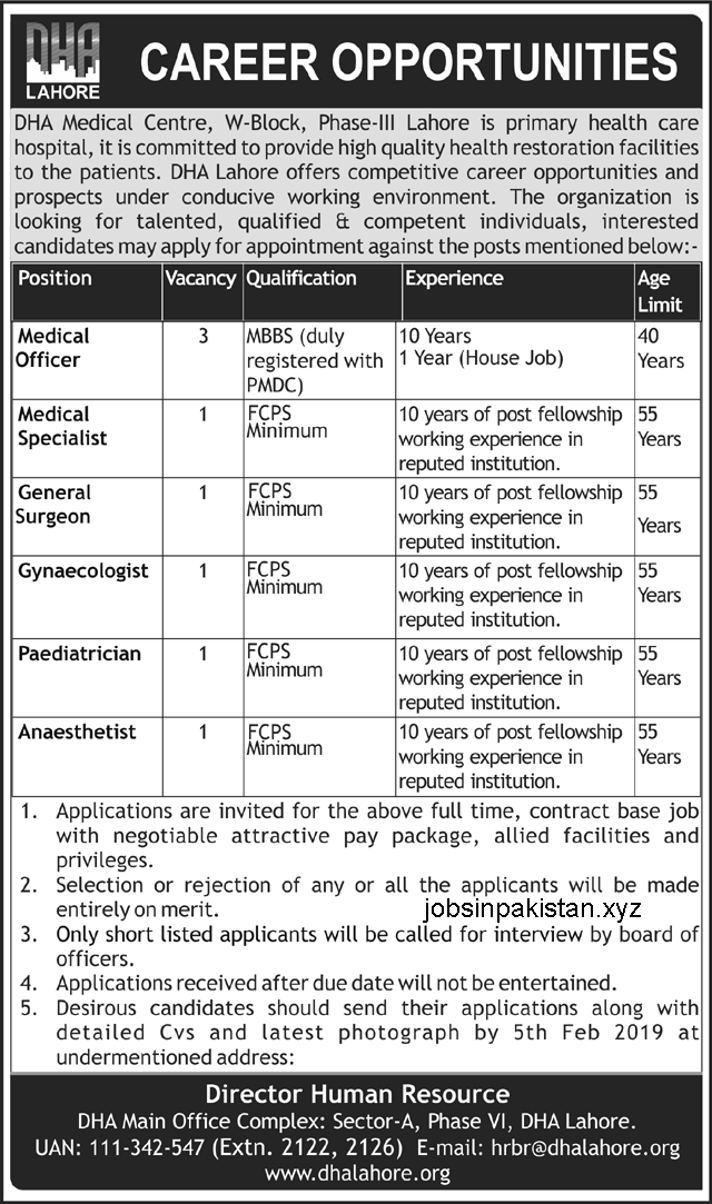 Advertisement for DHA Medical Centre Lahore Jobs