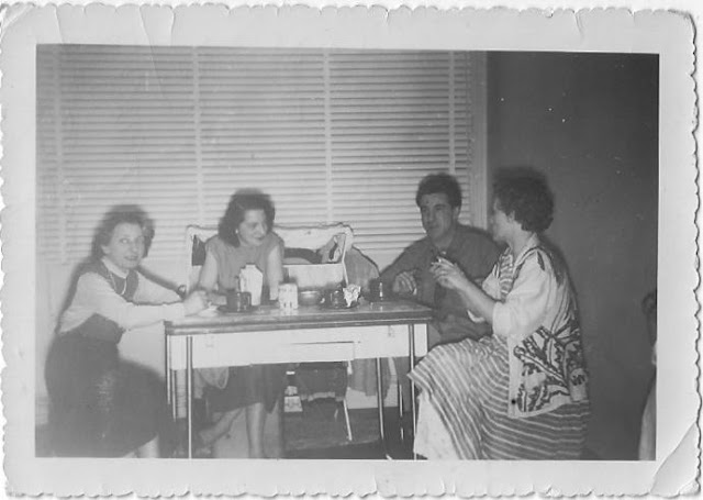 Mme Fauvet, Christiane Fauvet Chaboisson, Albert 'Bob' Chaboisson and Elizabeth Hoover on the American armed forces base at Deols in the 1950s. Indre, France.