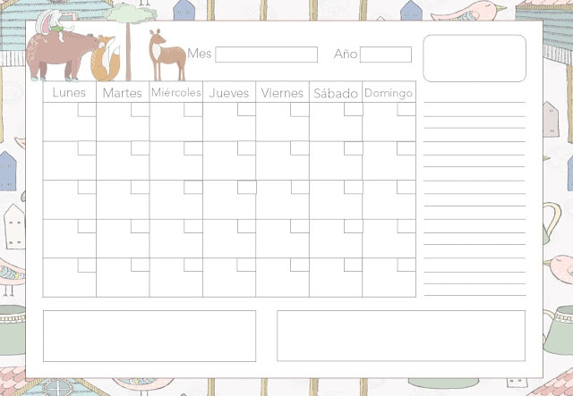 Calendario mensual forest gratis
