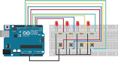 Cara Mudah Menyalakan 4 LED dengan 4 Push Button Menggunakan Arduino UNO