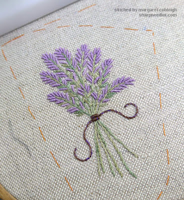 Completed embroidered lavender bunch with brown/purple bullion tie and streamers