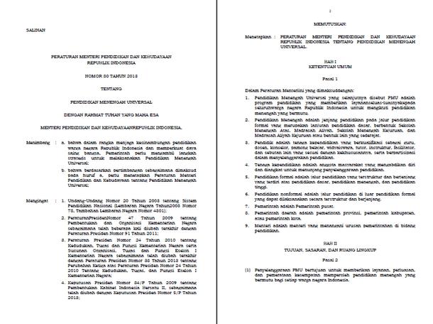 Permendikbud Nomor 80 Tahun 2013 Tentang Pendidikan Menengah Universal (PMU)