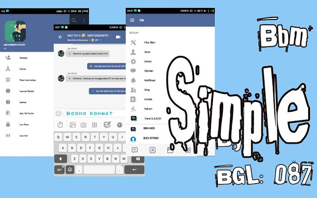 Download BBM Mod Simple Theme versi 3.3.6.51 Apk Terbaru