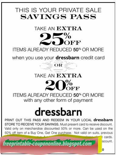 Coupons for dress barn printable