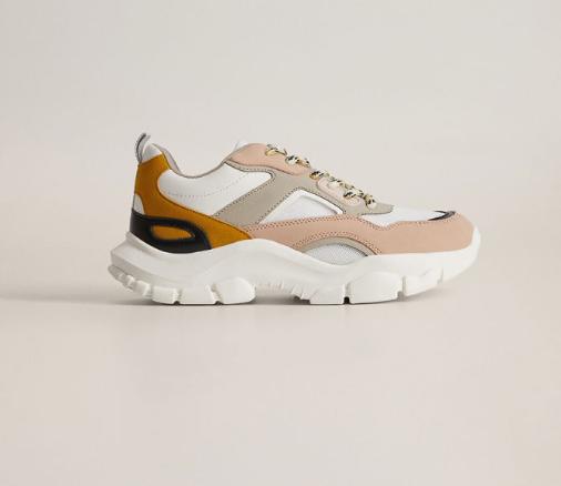 Mango - Pantofi sport femei cu talpa inalta bej moderni pret mic
