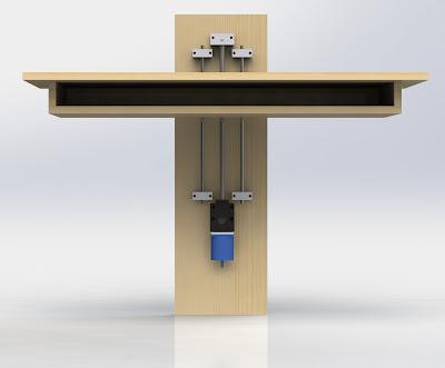 CAD render of desk motorized rail mechanism