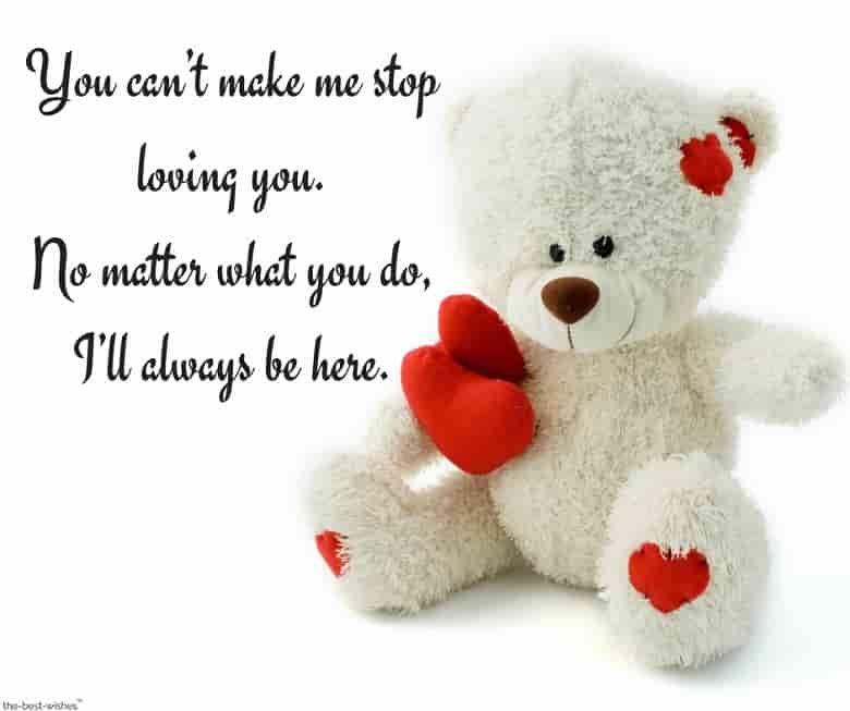 unconditional love message with teddy bear to her