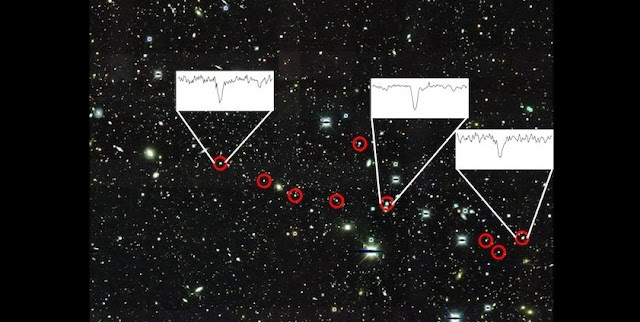 This is an image of Reticulum II obtained by the Dark Energy Survey, using the Blanco 4-meter telescope at Cerro Tololo Inter-American Observatory. The nine stars described in the paper are circled in red. The insets show the very strong presence of barium, one of the main neutron capture elements the team observed, in three stars. Background image is courtesy of Dark Energy Survey/Fermilab. Foreground image is courtesy of Alexander Ji, Anna Frebel, Anirudh Chiti, and Josh Simon.