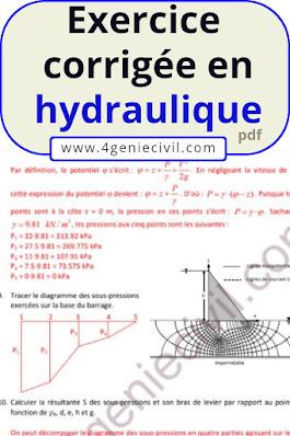 exercices avec solutions en hydraulique, problèmes résolus en hydrolique