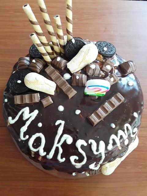 drip cake, urodziny 2-latka, tort czekoladowy