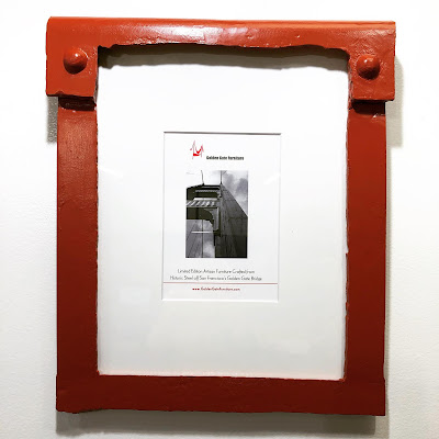 Small Portrait Photo Frame crafted from Golden Gate Bridge Steel