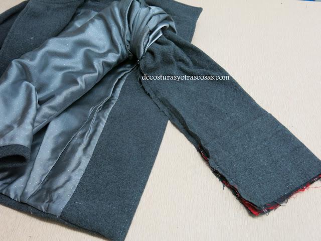 forrar una manga de abrigo