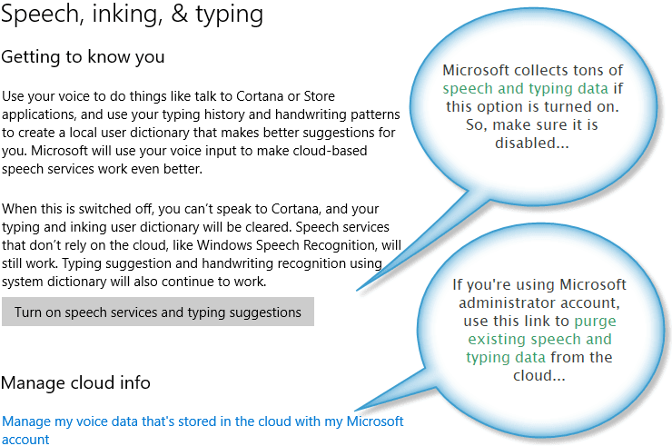 Speech, Inking, and Typing settings for Windows 10