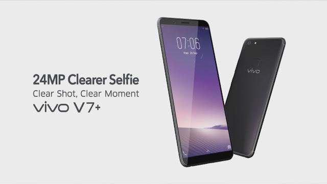 Spesifikasi dan Harga Vivo V7 Plus, RAM 4GB / 64GB Dual Kamera 16MP & 24MP