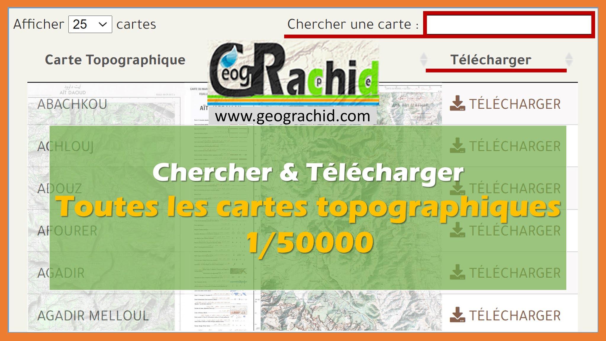 Tableau pour trouver et télécharger toutes les cartes topographiques du Maroc 1/50000