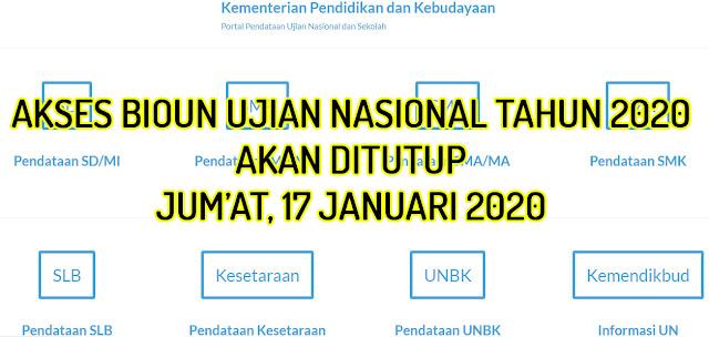 Akses BIOUN Akan di Tutup 17 Januari 2020