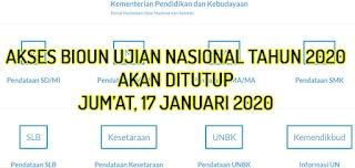 Akses BIOUN Akan di Tutup 17 Januari, Segera Update data Peserta Ujian Nasional Tahun 2020