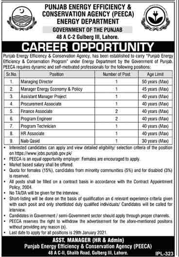 Energy Department Punjab Jobs Advertisement 2021 Apply Online