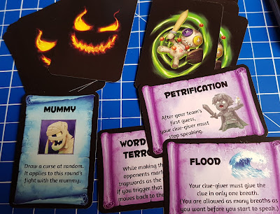 Trapwords game cure and monster card examples
