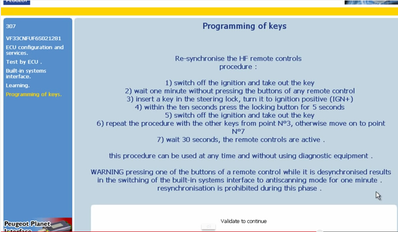 peugeot key programming instructions