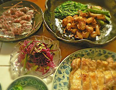 夕食の献立 鶏肉の塩焼き 刺身 ホタテバター焼き