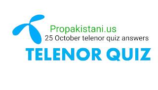 25 October Telenor quiz answers, telenor app quiz answers