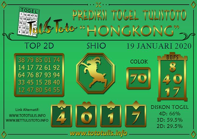 Prediksi Togel HONGKONG TULISTOTO 19 JANUARI 2020
