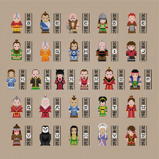 Avatar - The Last Airbender Alphabet - Cross Stitch PDF Pattern Download