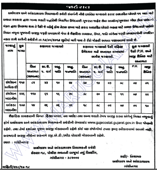 Directorate of Economics & Statistics Recruitment for 492