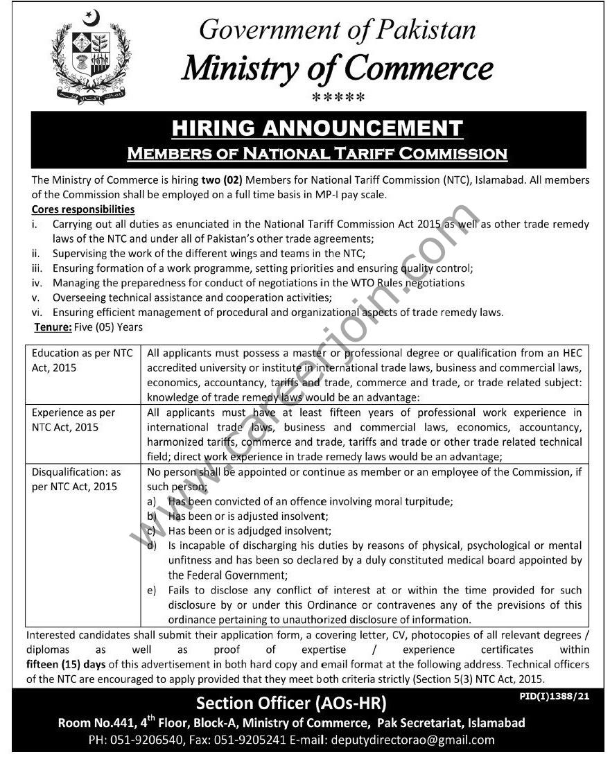 Ministry Of Commerce Jobs September 2021