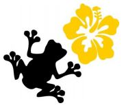 black frog and a yellow flower