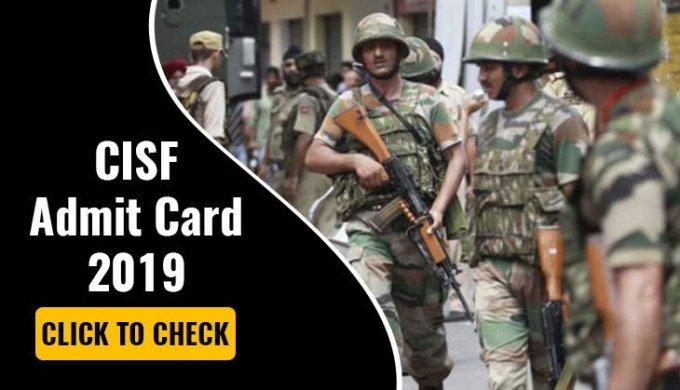 CISF Head Constable PST Admit Card 2019