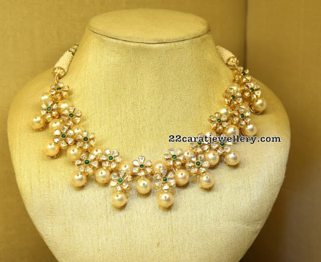 Floral Choker with South Pearls