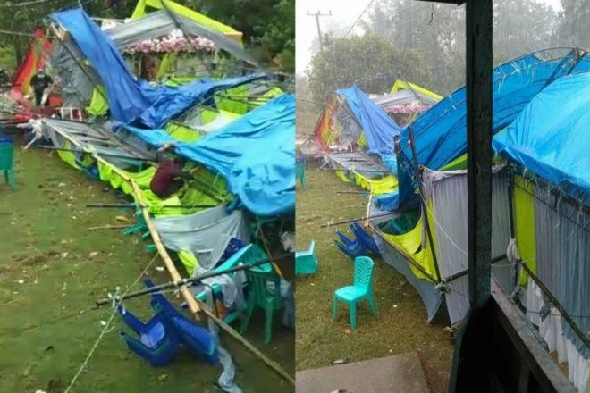 Sehari, Dua Tenda 'Baruga' Pernikahan di Bone Ambruk Karena Angin Kencang