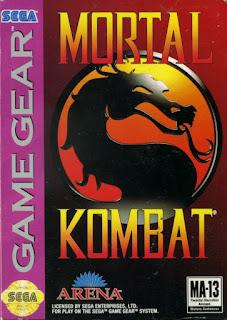 Carátula del cartucho de Mortal Kombat para la Sega Game Gear, Acclaim, 1993
