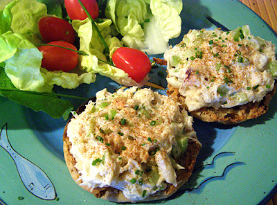 Crab Salad on English Muffin with side salad