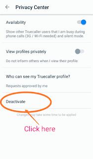 Truecaller app deactivate id
